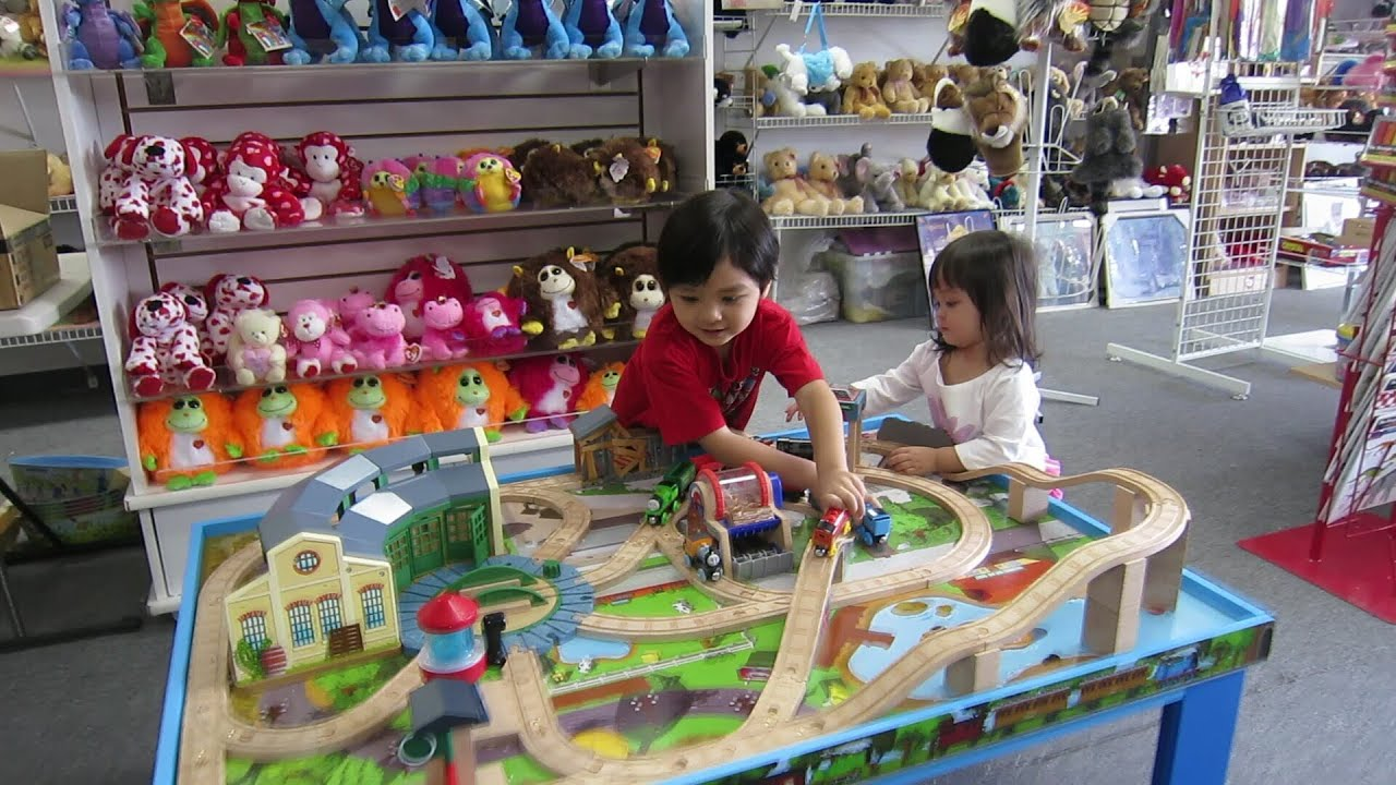 My Kids \u0026 the Thomas \u0026 Friends Play Set - Wooden Railway (Part 2) - YouTube : childrens wooden train set tables - pezcame.com