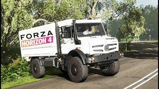 MOJA NOWA CIĘŻARÓWKA + SPEDYCJA! Forza Horizon 4 - MERCEDES UNIMOG -  GRAMY NA PADZIE!