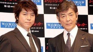 俳優の上川隆也さんと柴田恭兵さんが31日、東京都内で行われたWOWOW連続...