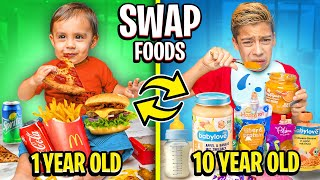 10 year old SWAPS FOOD with Baby For a DAY!!   The Royalty Family