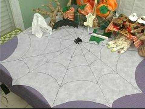 Halloween Decorations U0026 Treats For Parties : How To Make A Spiderweb Table  Cloth