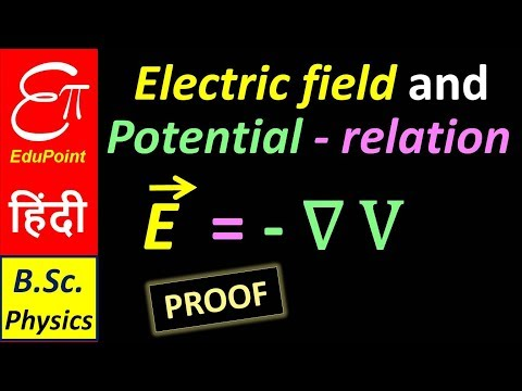 E = - ∇V || ELECTRIC FIELD is negative GRADIENT of ELECTRIC POTENTIAL || in HINDI