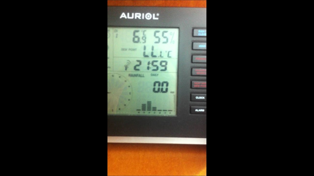 Auriol Radio Controlled Alarm Clock With Weather Station