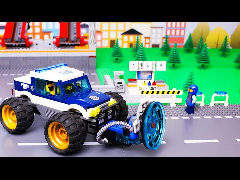 LEGO Cars And Trucks Experemental Garbage Truck, Police Car And Bulldozer Racing Car Video For Kids