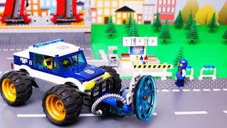 lego-cars-and-trucks-experemental-garbage-truck,-police-car-and-bulldozer-racing-car-video-for-kids