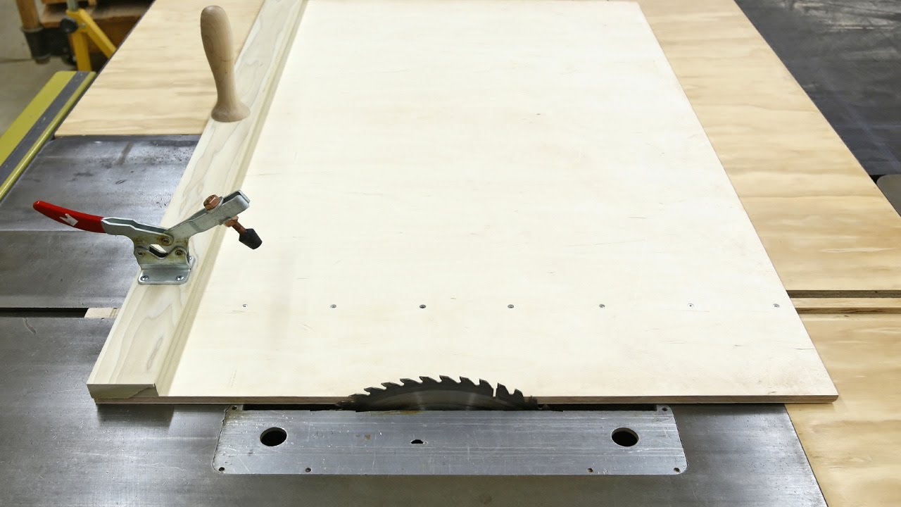 Big table saw sled youtube for Table saw sled