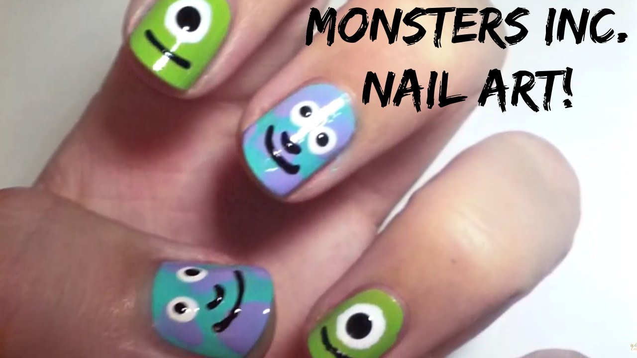 Monsters Inc Nail Art Simple And Easy Youtube