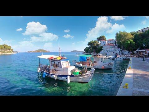 A walk through Skiathos Town in summer 2020, 4K