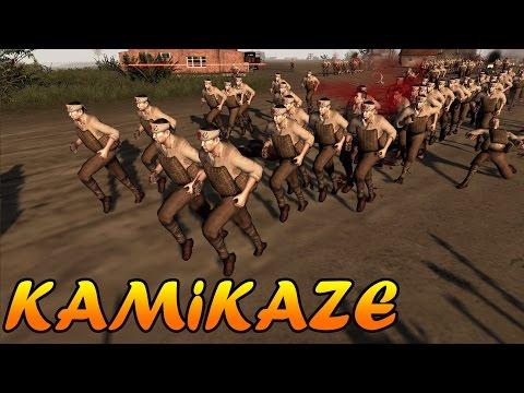 Men of War Assault Squad 2 - 500 WW2 Kamikaze vs 3 Sherman Tanks - Editor Scenario #39 |