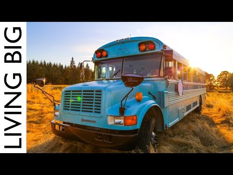 School Bus Converted Into Stunning Off-Grid Home and Mobile Business