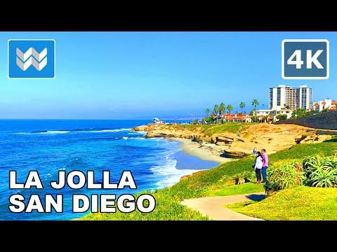 [4K] La Jolla in San Diego, California USA - Scenic Walking Tour & Travel Guide 🎧 Binaural Sound