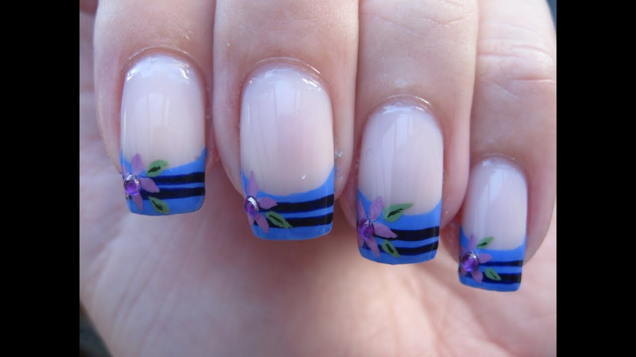 Attractive Blue French Tip Nail Art Adornment - Nail Art Ideas ...