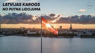 Īstais Latvijas karogs uz AB dambja no putna lidojuma