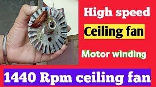 High speed ceiling fan 24 slot 4+4 coil motor winding coil turns 1440 RPM starting winding