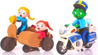 FUNNY KIDS POLICE STOPS THE BIKE  ❤ Play Doh Cartoons For Kids