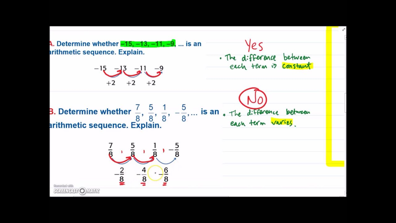 algebra 1 arithmetic sequences - YouTube