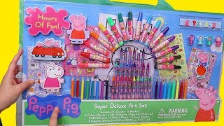 Peppa Pig Giant Coloring Toy Set And Pretend Play For Kids ! Toys And Dolls Fun Learning Activities