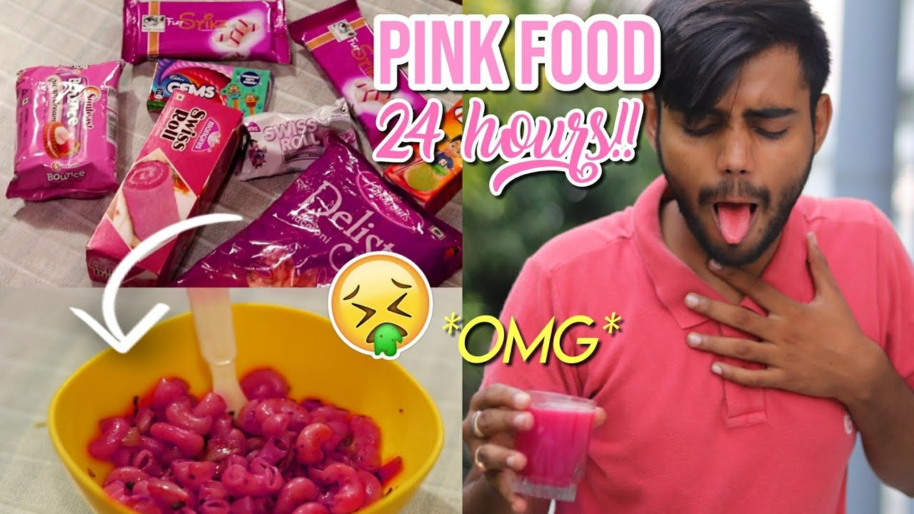 I only ate PINK food for 24 Hours!! Challenge *first boy to do this in India*