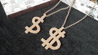 """Символ """"Доллар"""" из бисера для привлечения денег в дом. Мастер-класс."""