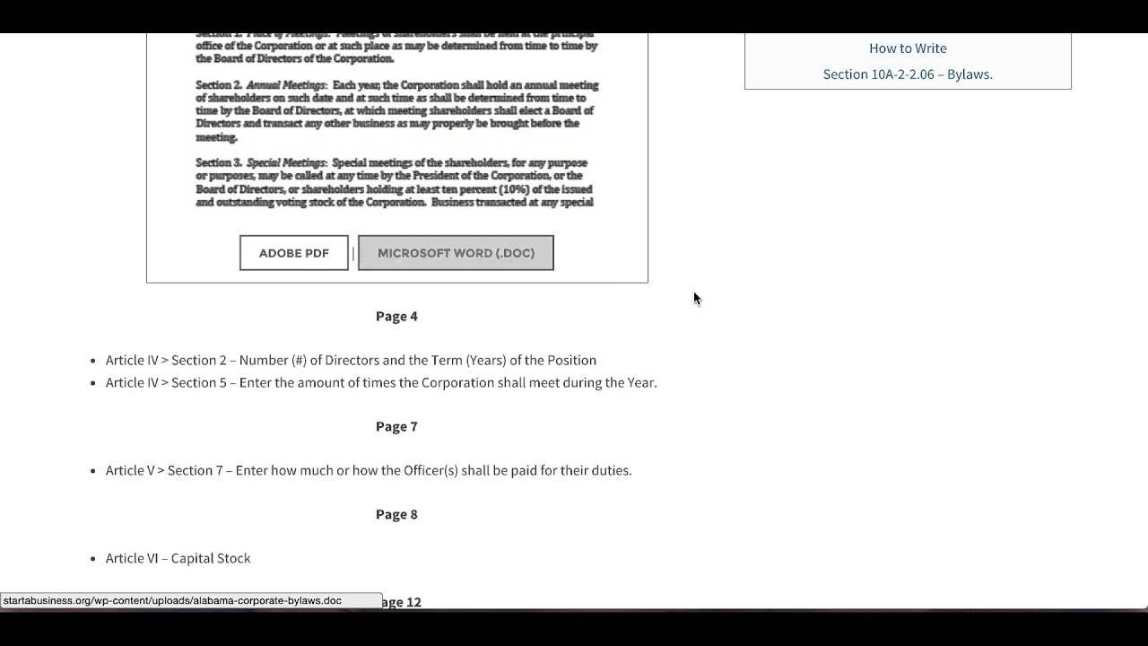 Free Alabama Corporate Bylaws Template Pdf Word Youtube