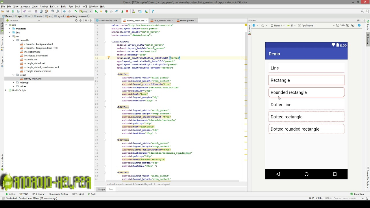 Create Line & Rectangle shapes for EditText (background) in drawable XML  file?