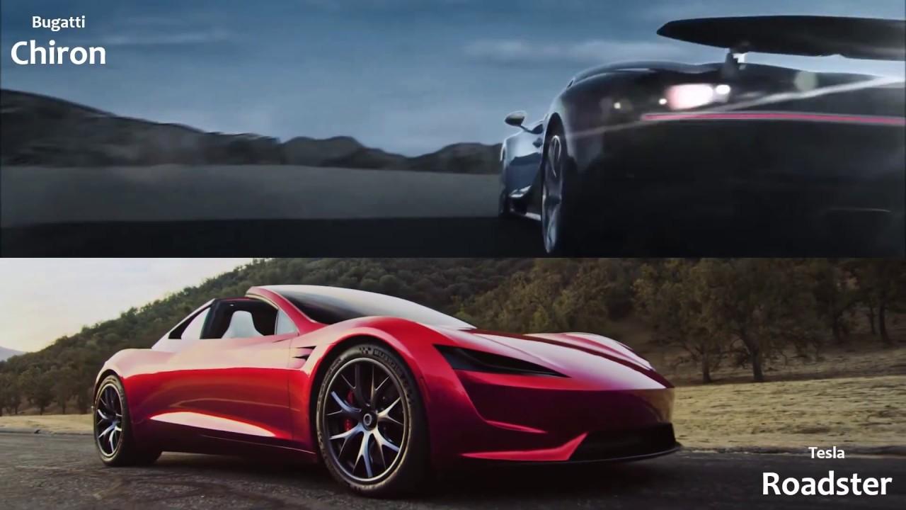 tesla roadster vs bugatti chiron - youtube