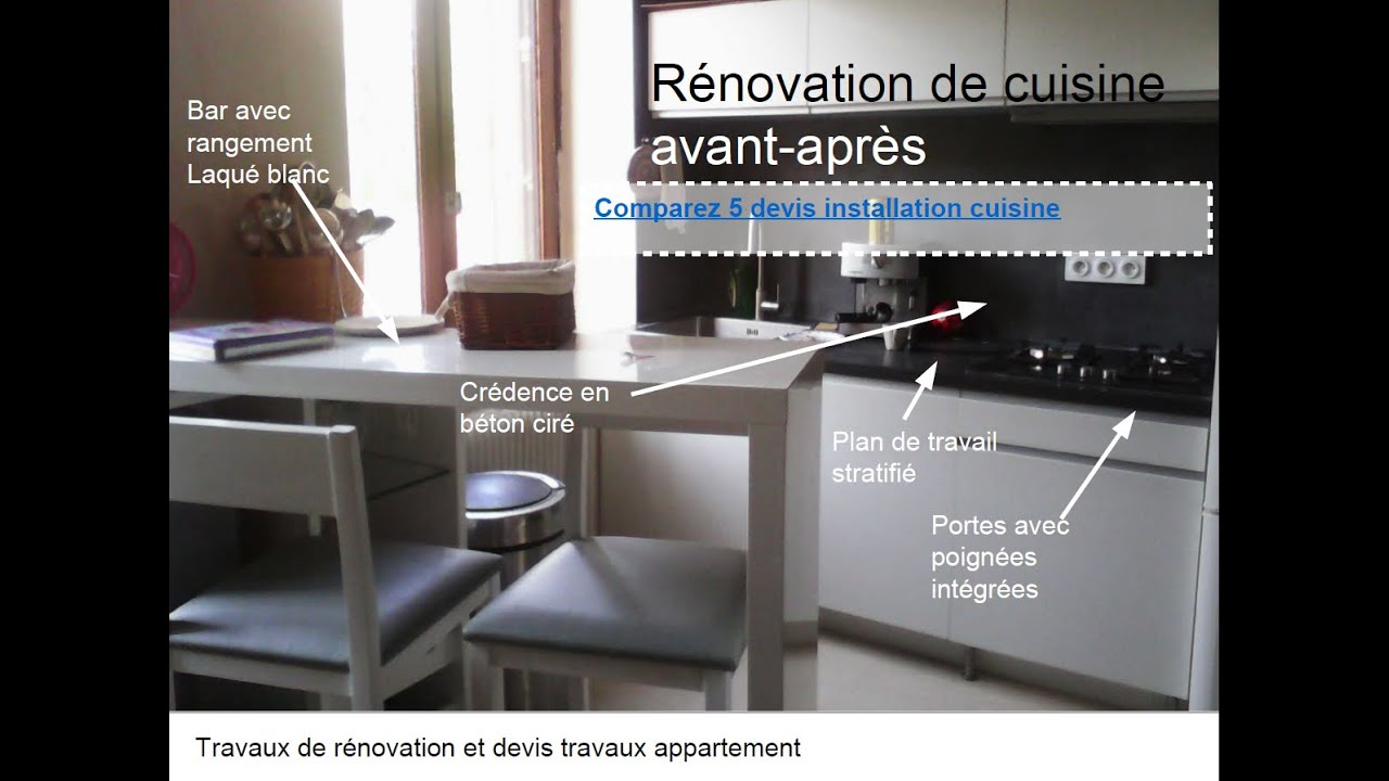 R novation cuisine avant apr s youtube for Renovation de cuisine