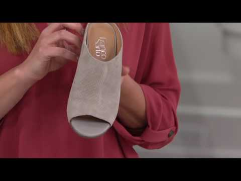 Franco Sarto Snake Textured Suede Peep-toe Mules - Firefly On QVC