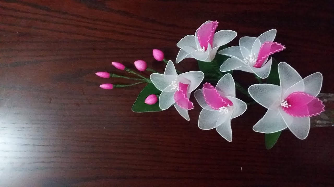 How to make beautiful orchid flower with nylon stockings youtube how to make beautiful orchid flower with nylon stockings izmirmasajfo