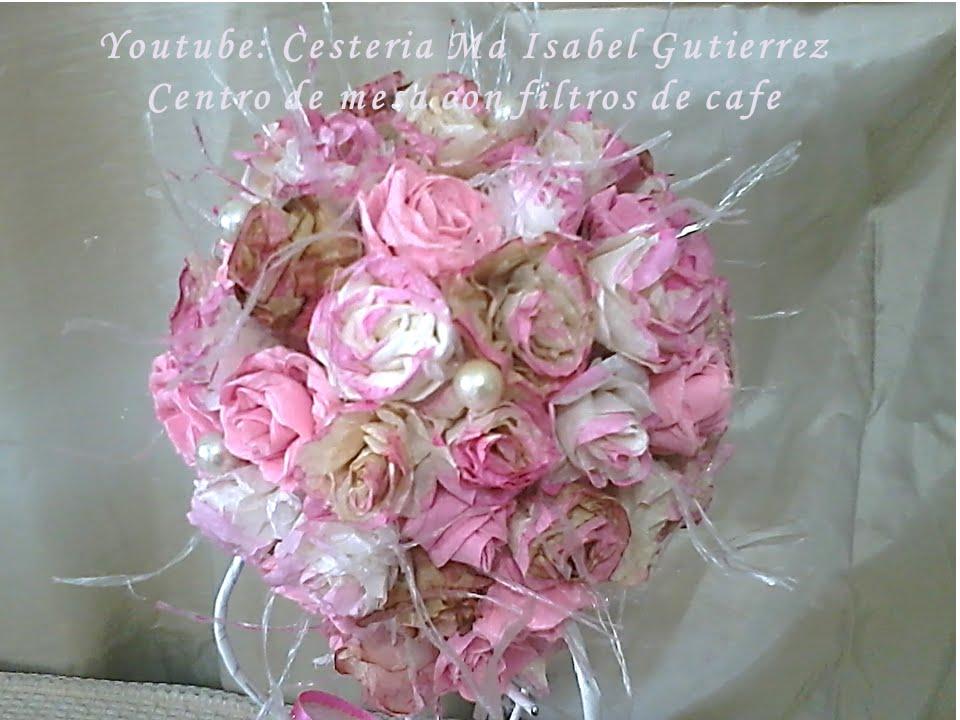 Centro de mesa con flores de filtros de cafe diy flowers - Centros de mesa con flores ...