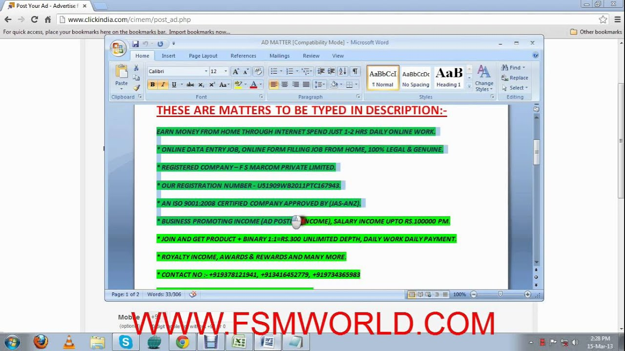 COPY PASTE WORK DEMO - WWW.FSMWORLD.COM - YouTube on online job applications, human resources forms, online job search, online job advertisements, communication forms, banking forms, work forms, online job training, baby forms, maintenance forms, computer forms, finance forms, loan forms,