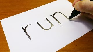 Very Easy ! How to turn words RUN into a Cartoon - art on paper for kids