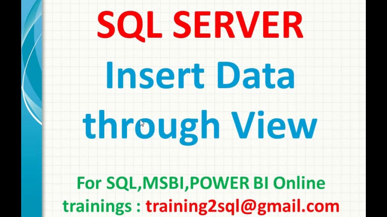 Insert data through view in SQL   Insert into Sql View   View data insert  in SQL