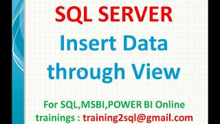 insert data through view in SQL  Insert into Sql View  View data insert in SQL