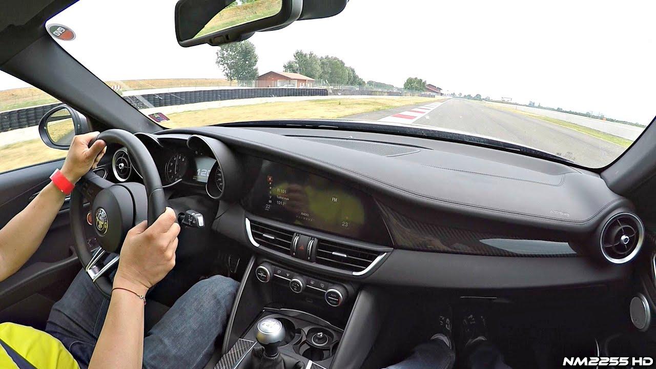 alfa romeo giulia quadrifoglio pov ride @ track - onboard engine