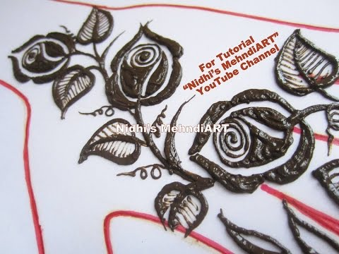 Flower Pattern Mehndi Designs : Magnificent shaded roses with leaves floral henna mehndi design