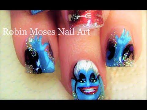 The Little Mermaid Nail Art Design Ursula And Ariel Nails Tutorial