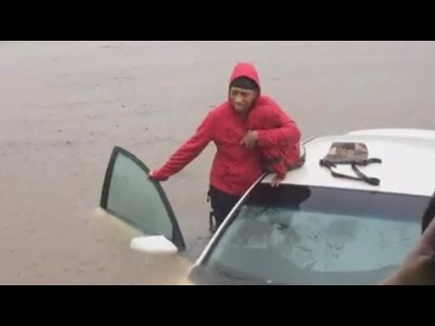 NC police save mother, baby from car stuck in Hurricane Matthew flood waters