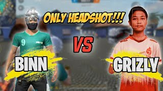 BINN VS GRIZLY !!! ONLY HEADSHOT ! 👽 | GARENA FREE FIRE