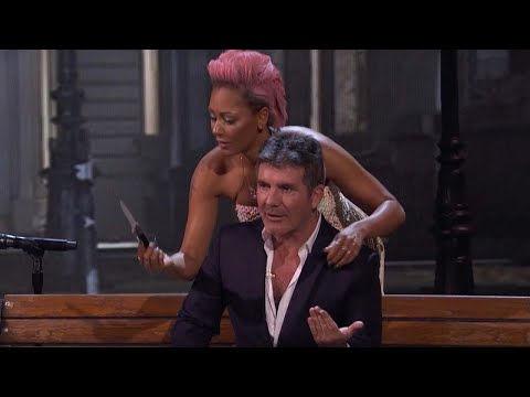EXCLUSIVE: Simon Cowell Reacts to Mel B Stabbing Him During Surprising 'America's Got Talent' Act!
