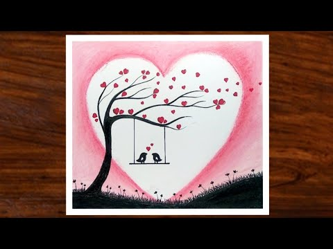 Simple Drawing Of Love Birds Scenery Valentines Day Special Drawing Oil Pastel Drawing Youtube