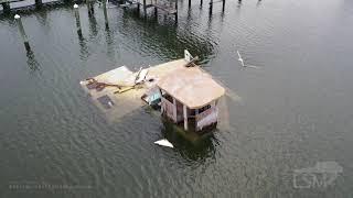 11-07-2020 Pass Christian, Mississippi - Hurricane Zeta Cleanup - Destroyed Docks - Tarps - Drone