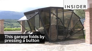 This garage folds up with the push of a button