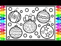 How to Draw Christmas Ornaments Step by Step for Kids| Christmas Decorations for Kids Coloring Page