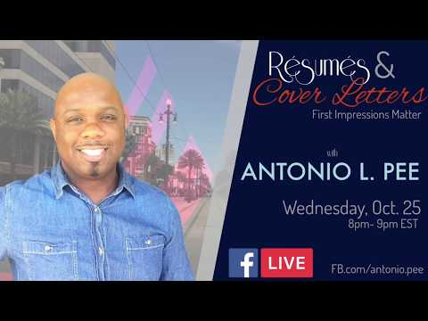 Resumes and Cover Letters with Antonio L Pee