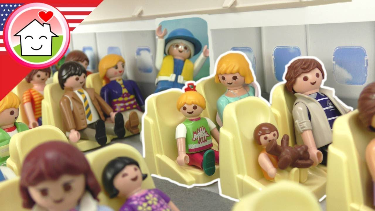 Playmobil Engish The Hauser Family on the Plane – Flight to London