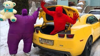 Red Man in Trunk and Purple Fat Man ride on Chevrolet Camaro with a...