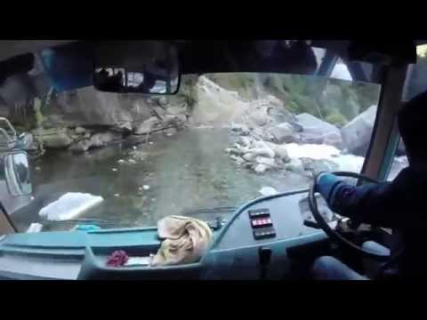 Himalayan River Crossing in a Bus in Nepal GOPRO