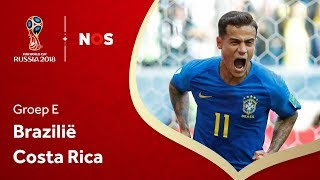 WK voetbal 2018: Samenvatting Brazilië - Costa Rica (2-0)