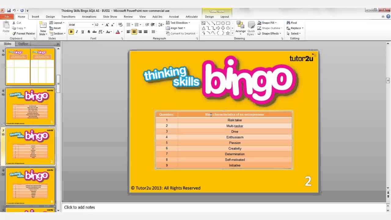 teaching  learning with powerpoint thinking skills bingo, Powerpoint